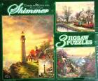 900 PIECES 3 SHIMMER  JIGSAW PUZZLES BY THOMAS KINKADE 100% COMPLETE VG COND