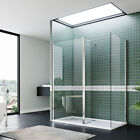 Wet Room Walk In Shower Enclosure and Tray Glass Screen Cubicle Flipper Panel