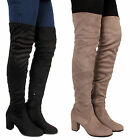 Womens Ladies Over The Knee Boots Suede Stretch Shoes High Heel Block Thigh Size