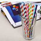 25/50/100pcs Chevron Stripe Paper Drinking Straws Striped Birthday Wedding Party