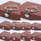 Vintage Family Friends Xmas Gifts Crystal Love Heart Charm Bracelet Bangle Chain
