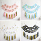 LUXE HAPPY BIRTHDAY Party Deco Bunting Banner Garland Gold Foiled Letters Flags