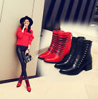 Fashion pointed toe Womens Lace Up Ankle Boots Zipper back Chunky med Heel Shoes