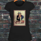 UNCLE SAM ARMY WANT YOU  RECRUIT AMERICAN SOLDIER Womens Black T-Shirt