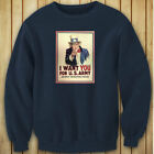 UNCLE SAM ARMY WANT YOU  RECRUIT AMERICAN SOLDIER Womens Navy Sweatshirt