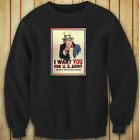 UNCLE SAM ARMY WANT YOU  RECRUIT AMERICAN SOLDIER Womens Black Sweatshirt