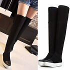 Women's Flat Pull on Sneakers Over the Knee Thigh High Boots Goth Shoes fashion