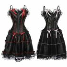 Sexy Gothic Evening Corset Skirt Halloween Maid Cos-play Costume Dress Plus Size