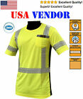 ANSI Class 3 Yellow Hi-Vis Reflective Safety Shirt Stripes Short Sleeve All Size
