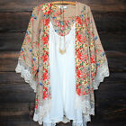 Women's Boho Lace Floral Printed Kimono Loose Long Cardigan Tops Blouse Natural