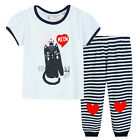 Pyjamas Baby Girls Summer Long 2 pc Pjs Set (sz 0-2) White Cat Meow Sz 0 1 2