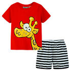 Pyjamas Baby Boys Summer Pjs Set (Sz 0-2) Red Giraffe Size 0 1 2