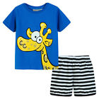 Pyjamas Baby Boys Summer Pjs Set (Sz 0-2) Royal Blue Giraffe Size 0 1 2