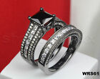 Solid BLACK 925 STERLING SILVER Bridal Rings ENGAGEMENT Ring & WEDDING RING SET