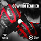 WYOX Leather Gloves Fitness Gym Wear Weight Lifting Workout Training Men Red NEW