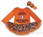 Happy Halloween Eye Orange L/S Bodysuit Girl Pumpkin Spider Web Baby Dress 0-18M