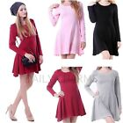 Women's Casual Cotton Jersey Knit Long Sleeve Slip-On Mini Skater Dress Skirt