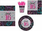 16th Birthday Party Napkins Plates Cups Tablecover Sweet Sixteen Black & Purple