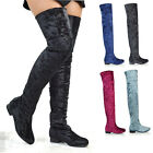 Womens Thigh High Flat Stretch Leg Tall Zip Ladies Over The Knee Riding Boots