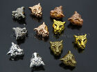 Solid Metal Leopard Head Bracelet Connector Charm Beads Silver Gold Gunmetal