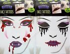 Glitter Face Tattoo Vampire Zombie Blood Stitches Halloween Costume Party
