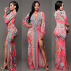 Women Long Sleeve Formal Prom Clubwear Cocktail Evening Party Long Maxi Dress