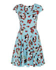 Jawbreaker Punk Gothic Goth Alternative Blue Rose Skull Print Dress Cap Sleeve