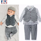 3PCS Toddler Infant Baby Boy Girl Clothes Suit Set Waistcoat+Shirt+Pants Outfits