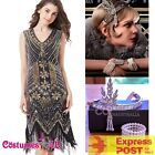 Ladies Deluxe 1920s Roaring 20s Flapper Costume Sequin Pearls Outfit Fancy Dress