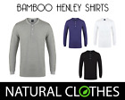 Mens Bamboo T Shirt Long Sleeve Henley Top Breathable Natural Clothes