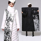 Womens Duck Down Parka Printed Long Coat Vintage Winter Jacket Warm Winter Hot
