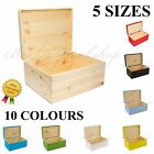 Wooden Box Keepsake Memory Craft Storage Box with lid / 5sizes /10 Colours