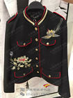 Spain Women's Embroidery Stand Collar Military Wool Loose Band Jacket XS-L