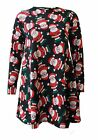 New Ladies Long Sleeve Christmas Print Flared Skater Mini Women Swing Dress Top