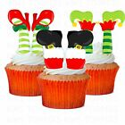 24 x FUN CHRISTMAS SANTA ELF STAND UP LEGS PRECUT Edible Wafer Cupcake Toppers