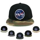 NASA Meatball Round Embroidered Iron on Patch Camo Flat Bill Snapback Cap