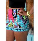 US Women Summer Beach Shorts Casual Tight Short Pants Ethnic Style Colorful S-XL