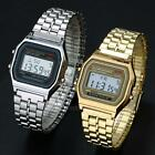 Men's Women's Date Alarm Stainless Steel Digital Sports Stopwatch Wrist Watch image