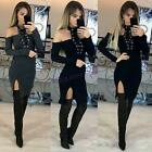 Women Long Sleeve Lace-up Bodycon Casual Party Evening Cocktail Short Mini Dress