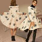 Womens Duck Down Stand Collar The Word Shoulder Long Princess Coat Floral Parka