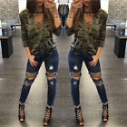 Fashion Womens Lace Up Camouflage Long Sleeve Tops Shirt Ladies T-shirt Blouse