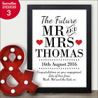 PERSONALISED Engagement Gifts Mr Mrs Couples Keepsake Print Word Art Present
