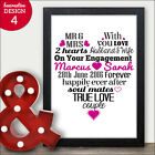 PERSONALISED Engagement Gifts Love Heart Word Art Keepsake Couples Gift Presents