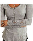 Autumn woman Long lace Sleeve buttons neck loose Casual Shirt Blouse 2colors
