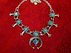 Vintage Emmons NAVAJO Style Block Turquoise SQUASH BLOSSOM Necklace GORGEOUS