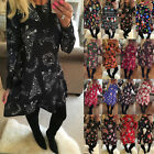New Womens Long Sleeve Christmas Dress Jumper Xmas Gift Party Flared Swing Dress