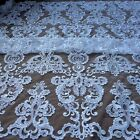 Fashion large pattern off white cord sequins wedding dress lace fabric