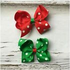 Miss GLORIA - CHRISTMAS Baby/Girls Boutique Bow Hair Clips Red/Green Polka Dot