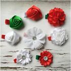 Miss ANGELICA - CHRISTMAS Baby/Girls Flower Hair Clips White/Red/Green