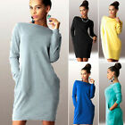 Women's Autumn Casual Long Sleeve Evening Party Mini Cocktail Tinic Dress  Tops